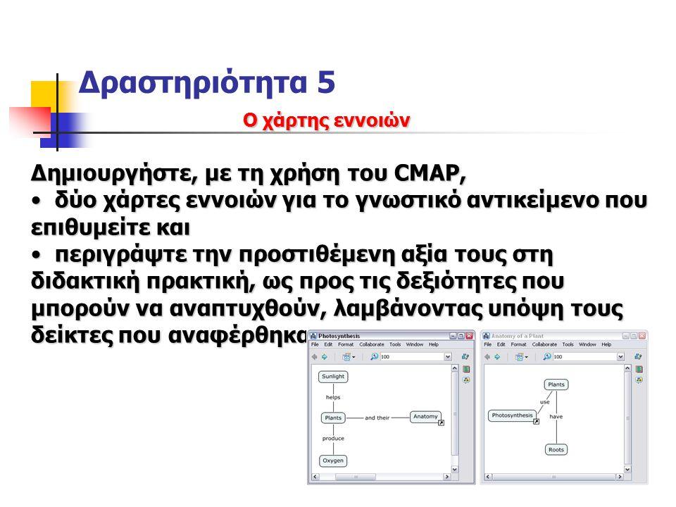 Δραστηριότητα 5 Δημιουργήστε, με τη χρήση του CMAP,