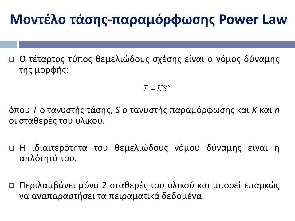 Μοντέλο τάσης-παραμόρφωσης Power Law