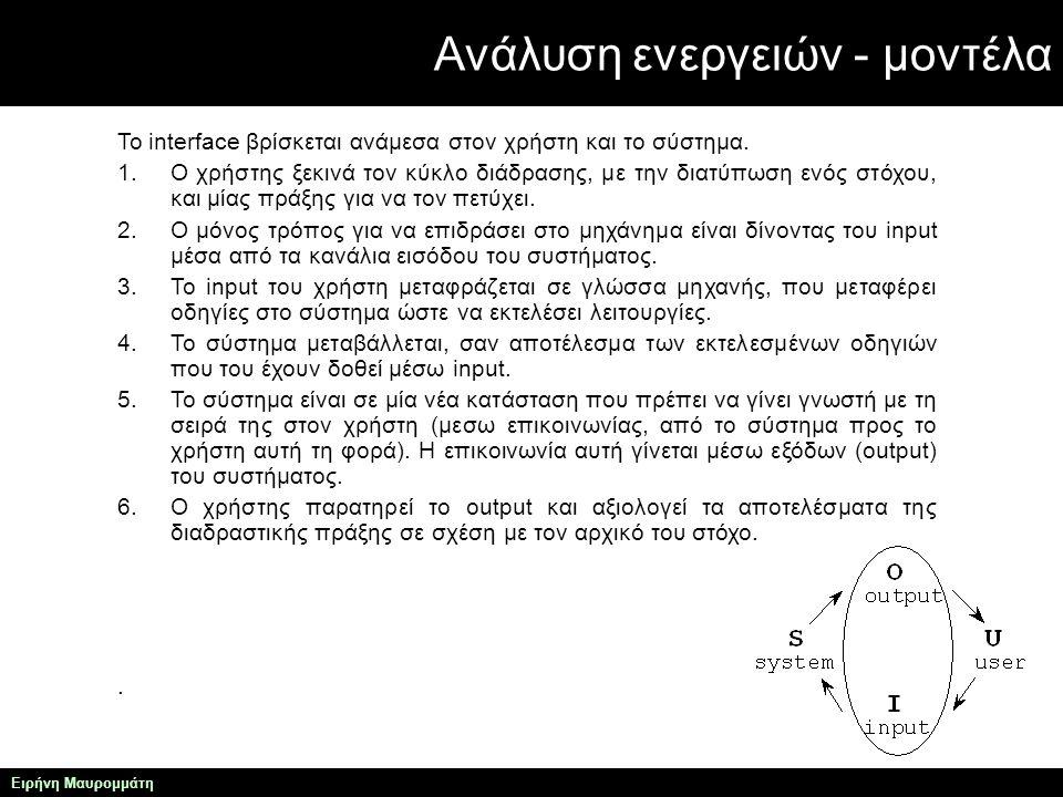 Ανάλυση ενεργειών - μοντέλα