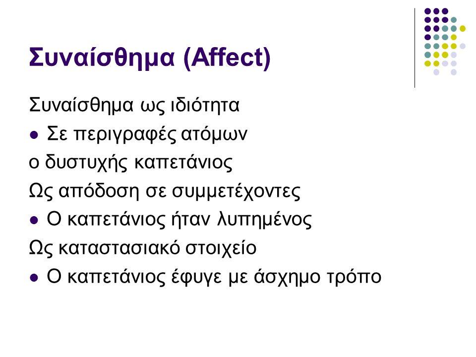 Συναίσθημα (Affect) Συναίσθημα ως ιδιότητα Σε περιγραφές ατόμων