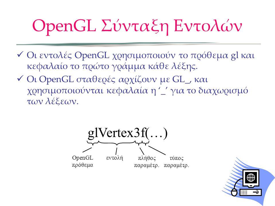 OpenGL Σύνταξη Εντολών