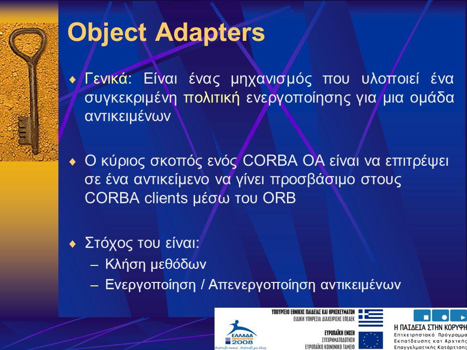 Object Adapters Γενικά: Είναι ένας μηχανισμός που υλοποιεί ένα συγκεκριμένη πολιτική ενεργοποίησης για μια ομάδα αντικειμένων.