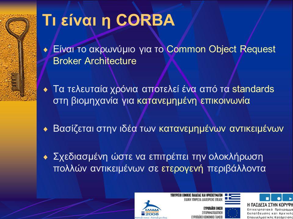 Τι είναι η CORBA Είναι το ακρωνύμιο για το Common Object Request Broker Architecture.