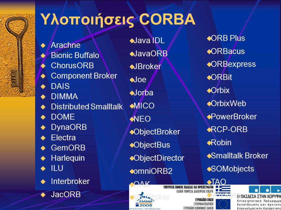 Υλοποιήσεις CORBA ORB Plus ORBacus ORBexpress ORBit Orbix OrbixWeb