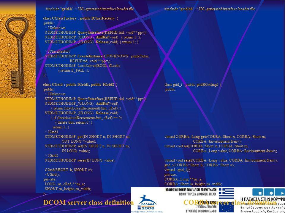 DCOM server class definition CORBA server class definition