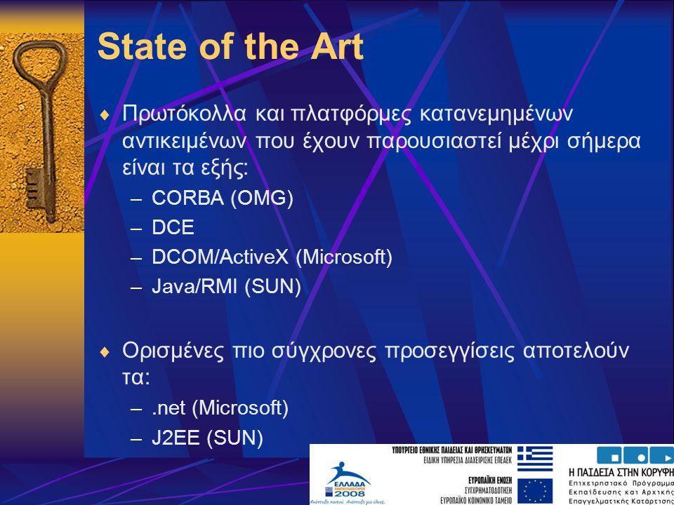 State of the Art Πρωτόκολλα και πλατφόρμες κατανεμημένων αντικειμένων που έχουν παρουσιαστεί μέχρι σήμερα είναι τα εξής: