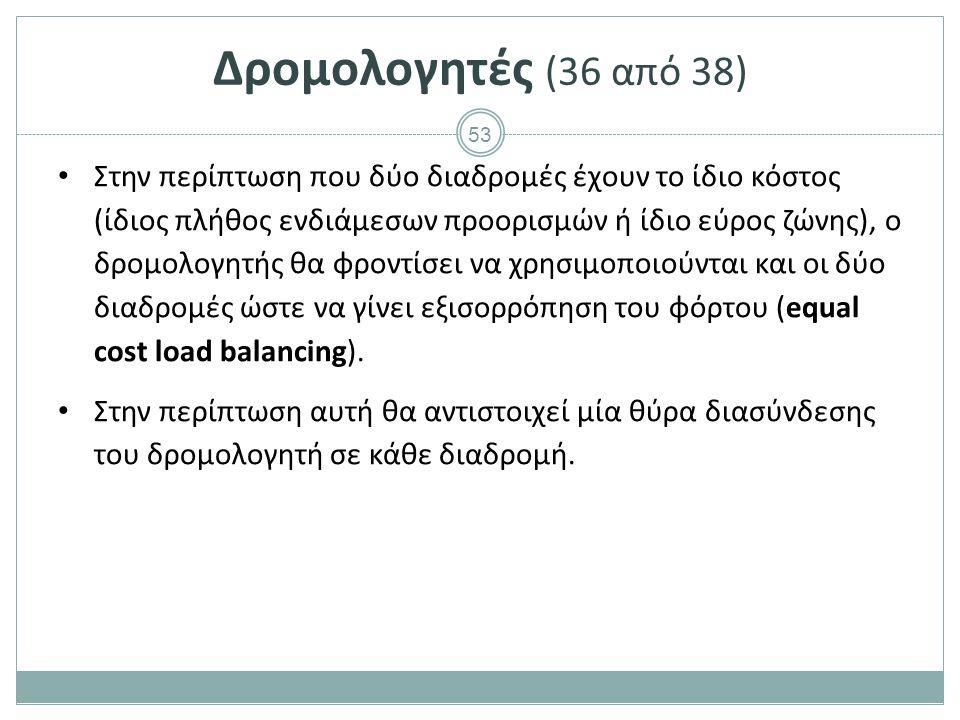 Δρομολογητές (37 από 38) Εξισορρόπηση φόρτου ίσου κόστους.