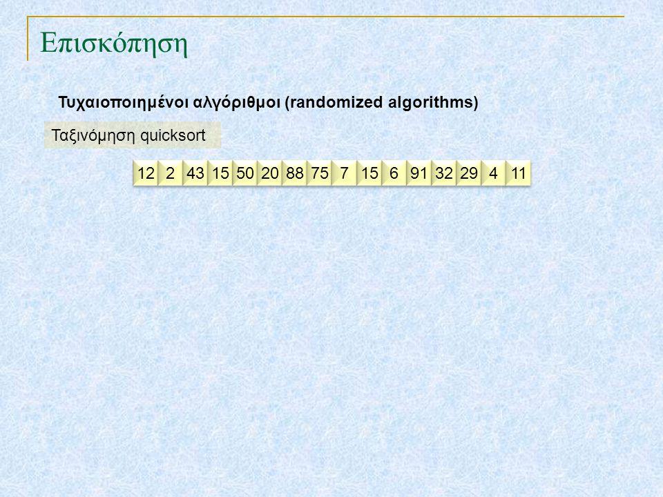 Επισκόπηση Τυχαιοποιημένοι αλγόριθμοι (randomized algorithms)