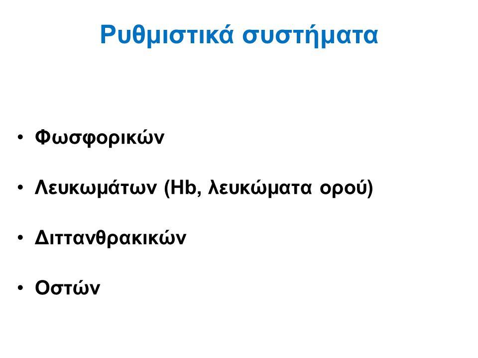 Ρυθμιστικά συστήματα Φωσφορικών Λευκωμάτων (Hb, λευκώματα ορού)