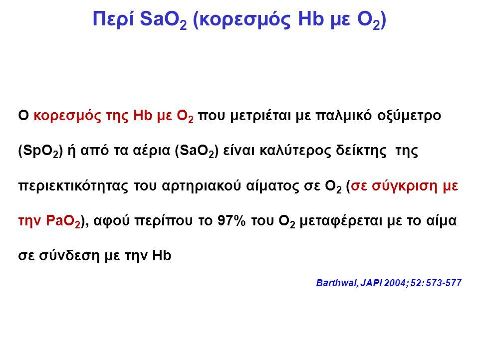 Περί SaO2 (κορεσμός Hb με Ο2)