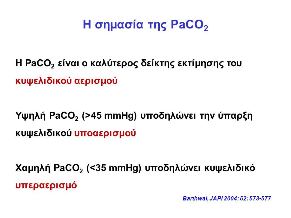 Η σημασία της PaCO2 Η PaCO2 είναι ο καλύτερος δείκτης εκτίμησης του κυψελιδικού αερισμού.