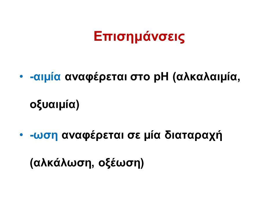 Επισημάνσεις -αιμία αναφέρεται στο pH (αλκαλαιμία, οξυαιμία)