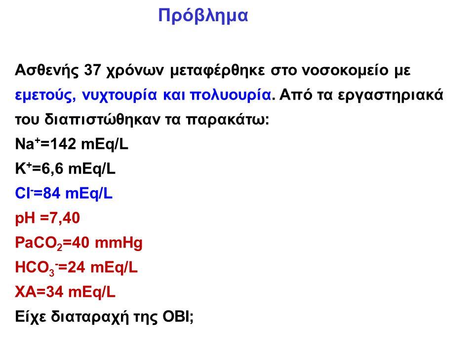 Πρόβλημα Ασθενής 37 χρόνων μεταφέρθηκε στο νοσοκομείο με εμετούς, νυχτουρία και πολυουρία. Από τα εργαστηριακά του διαπιστώθηκαν τα παρακάτω: