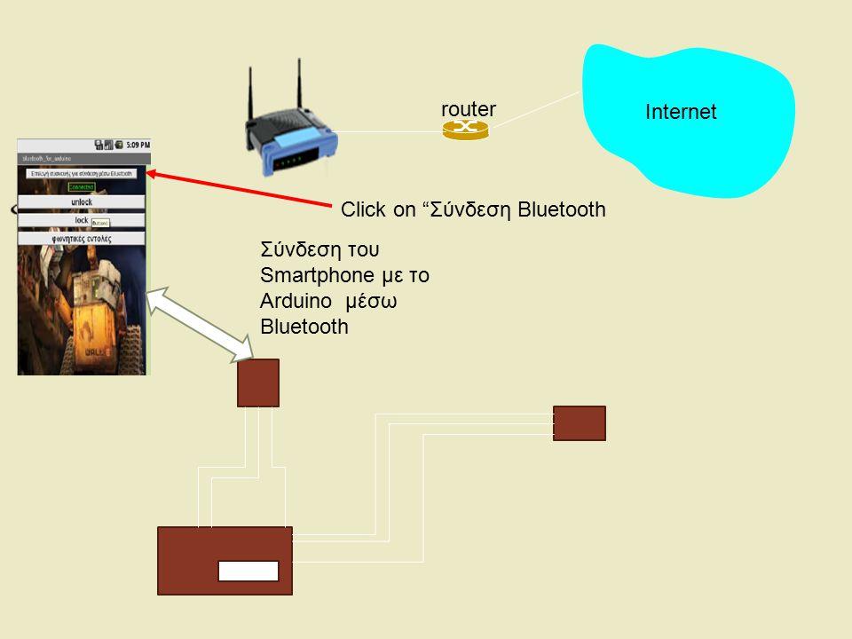 Internet router Click on Σύνδεση Bluetooth Σύνδεση του Smartphone με το Arduino μέσω Bluetooth