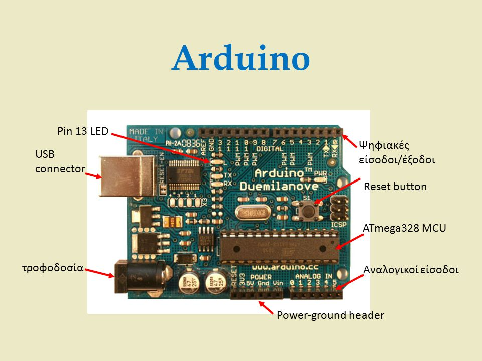 Arduino Pin 13 LED Ψηφιακές είσοδοι/έξοδοι USB connector Reset button
