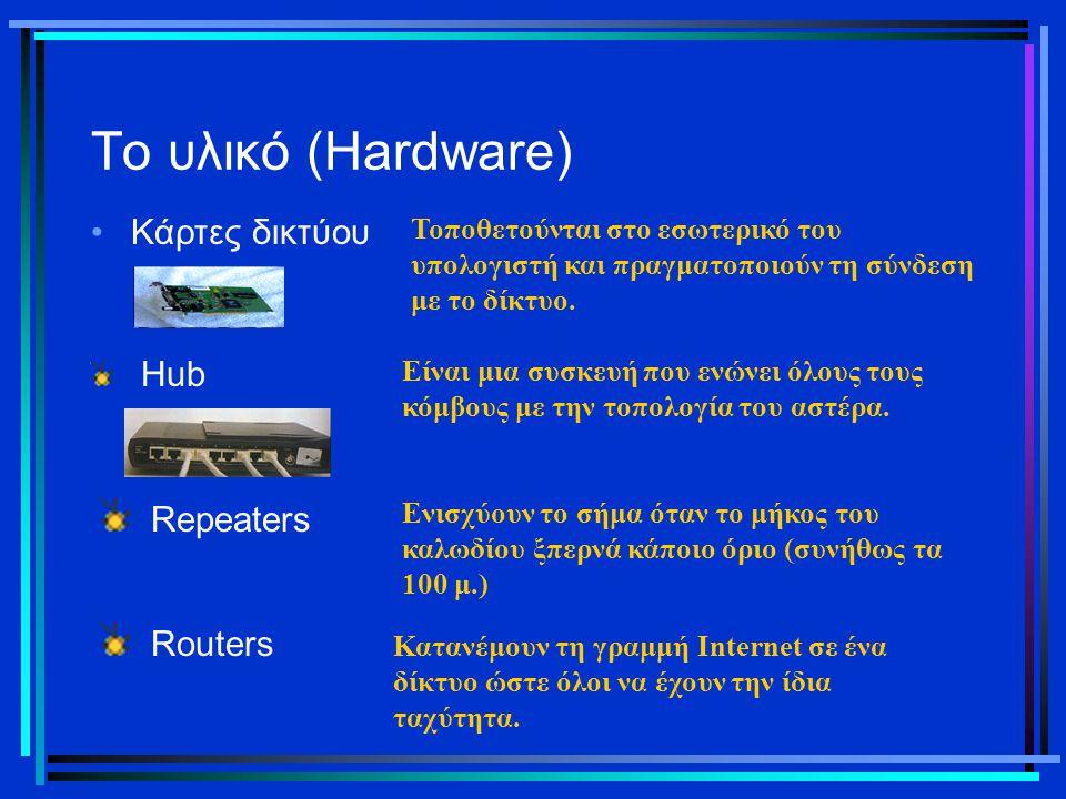 Το υλικό (Hardware) Repeaters Routers Κάρτες δικτύου Hub