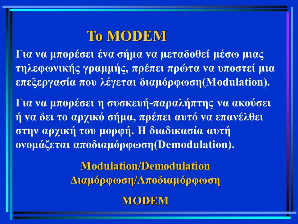 Modulation/Demodulation Διαμόρφωση/Αποδιαμόρφωση
