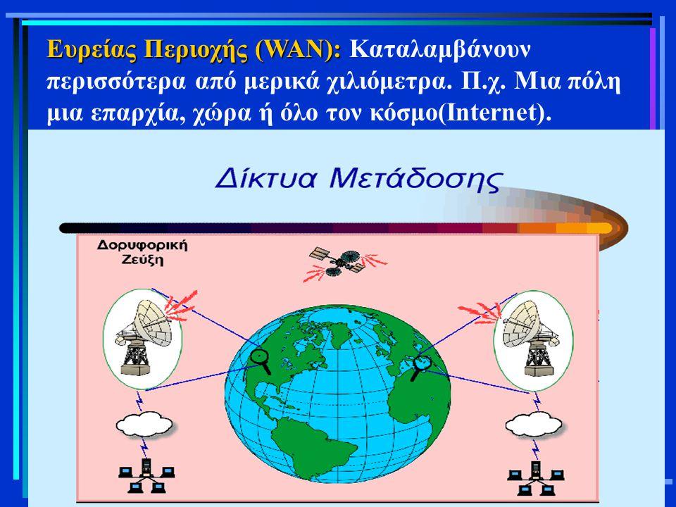 Ευρείας Περιοχής (WAN): Καταλαμβάνουν περισσότερα από μερικά χιλιόμετρα.
