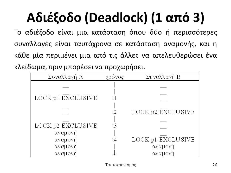Αδιέξοδο (Deadlock) (1 από 3)