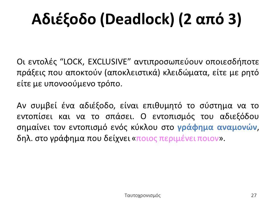 Αδιέξοδο (Deadlock) (2 από 3)