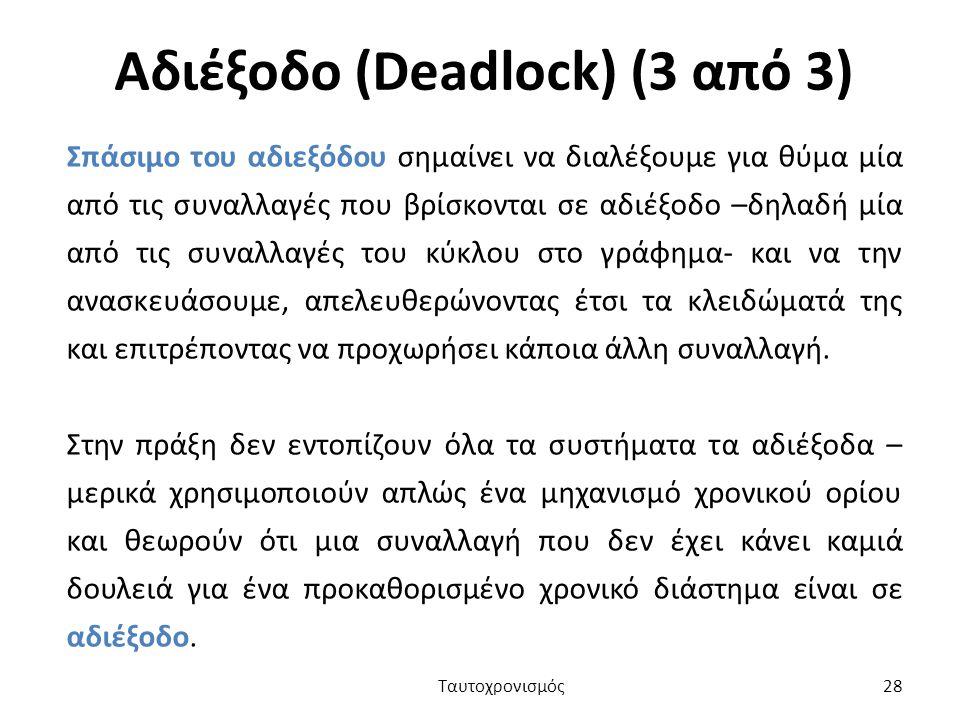 Αδιέξοδο (Deadlock) (3 από 3)