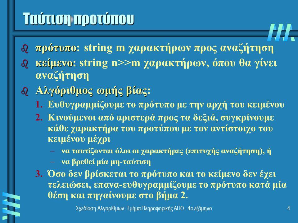 Σχεδίαση Αλγορίθμων- Τμήμα Πληροφορικής ΑΠΘ - 4ο εξάμηνο