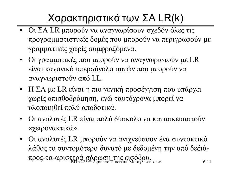 Χαρακτηριστικά των ΣΑ LR(k)