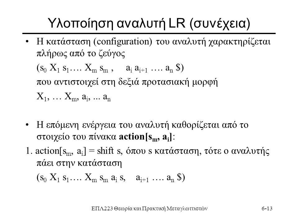 Yλοποίηση αναλυτή LR (συνέχεια)