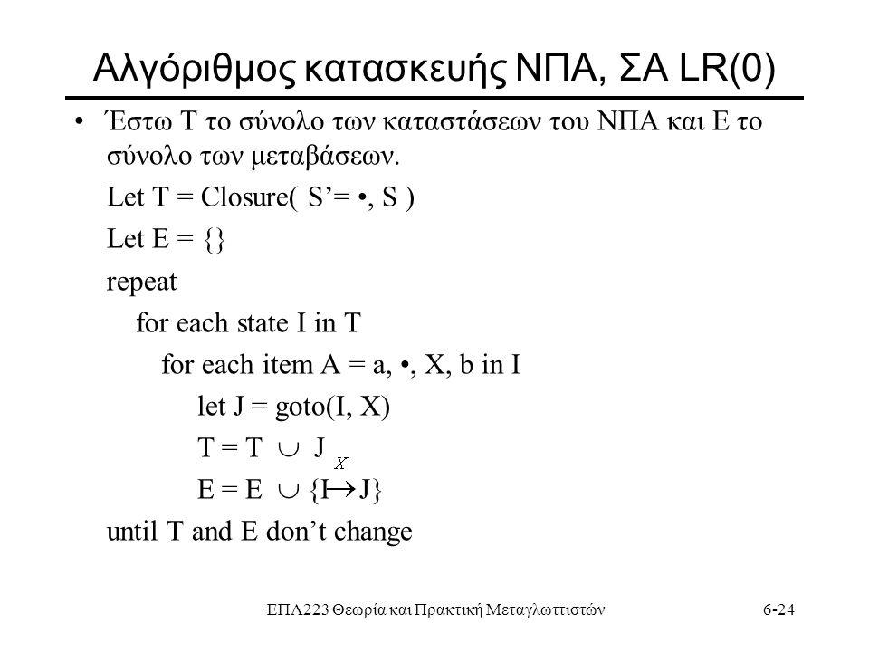 Aλγόριθμος κατασκευής ΝΠΑ, ΣΑ LR(0)