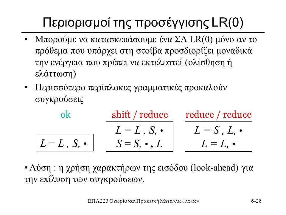 Περιορισμοί της προσέγγισης LR(0)