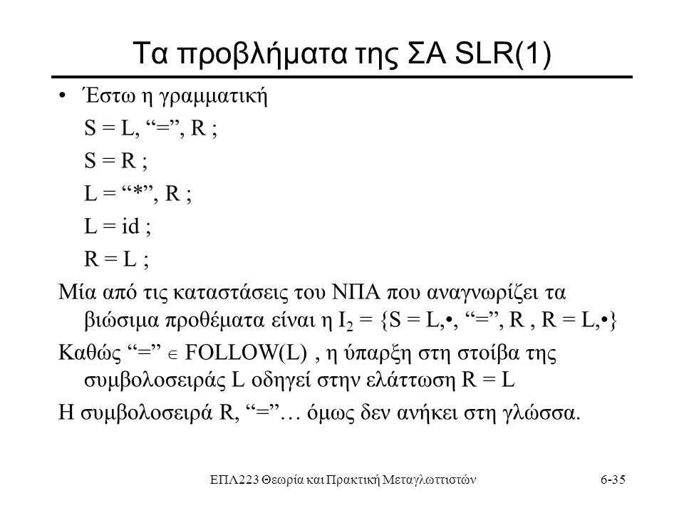 Τα προβλήματα της ΣΑ SLR(1)