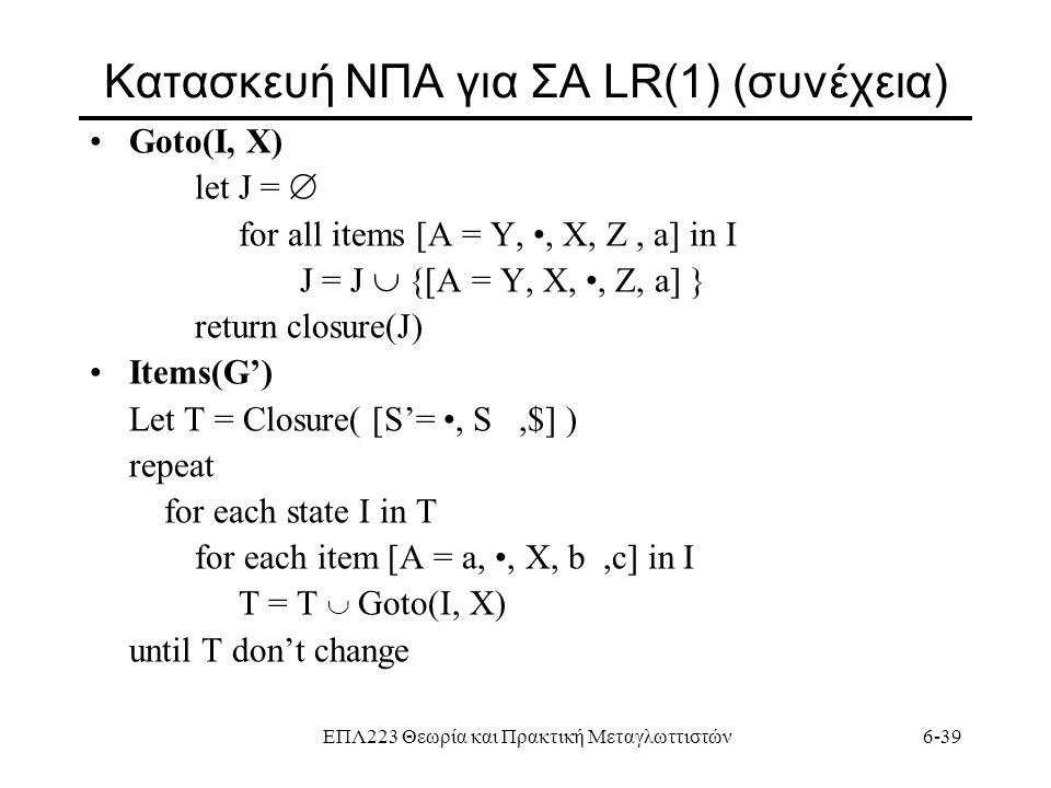 Κατασκευή ΝΠΑ για ΣΑ LR(1) (συνέχεια)