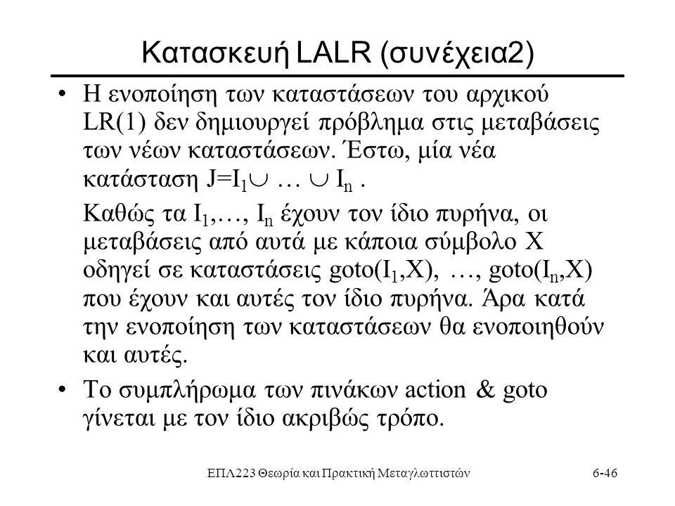Κατασκευή LALR (συνέχεια2)