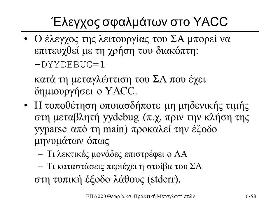 Έλεγχος σφαλμάτων στο YACC