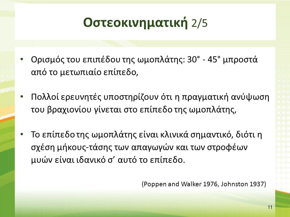 Οστεοκινηματική 3/5 Οι έρευνες έδειξαν ότι μόνο η ομάδα των έξω στροφέων βρίσκονται στην πλεονεκτική θέση στο επίπεδο της ωμοπλάτης.