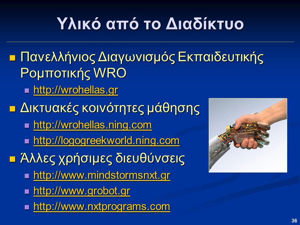 Υλικό από το Διαδίκτυο Πανελλήνιος Διαγωνισμός Εκπαιδευτικής Ρομποτικής WRO. http://wrohellas.gr. Δικτυακές κοινότητες μάθησης.