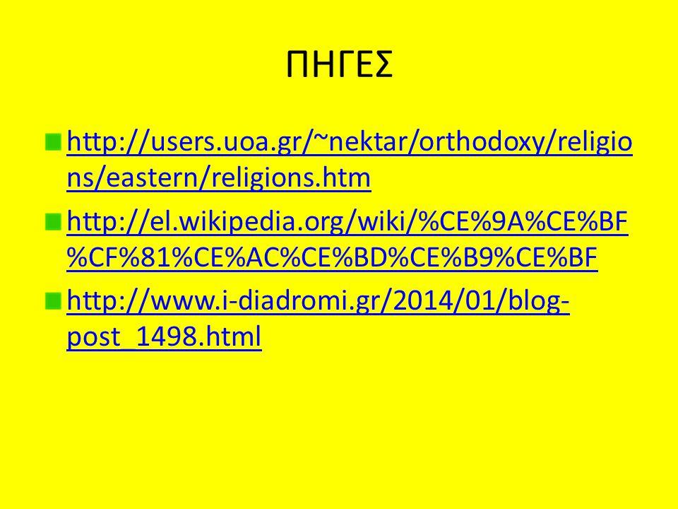 ΠΗΓΕΣ http://users.uoa.gr/~nektar/orthodoxy/religions/eastern/religions.htm. http://el.wikipedia.org/wiki/%CE%9A%CE%BF%CF%81%CE%AC%CE%BD%CE%B9%CE%BF.