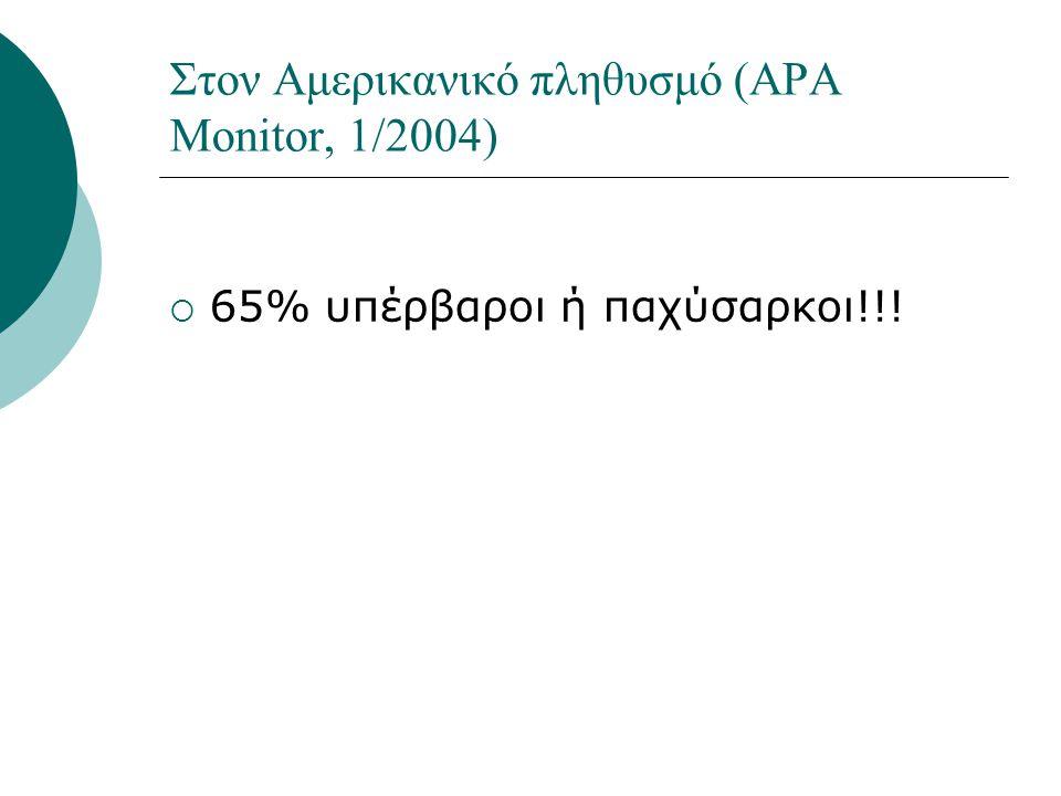 Στον Αμερικανικό πληθυσμό (APA Monitor, 1/2004)