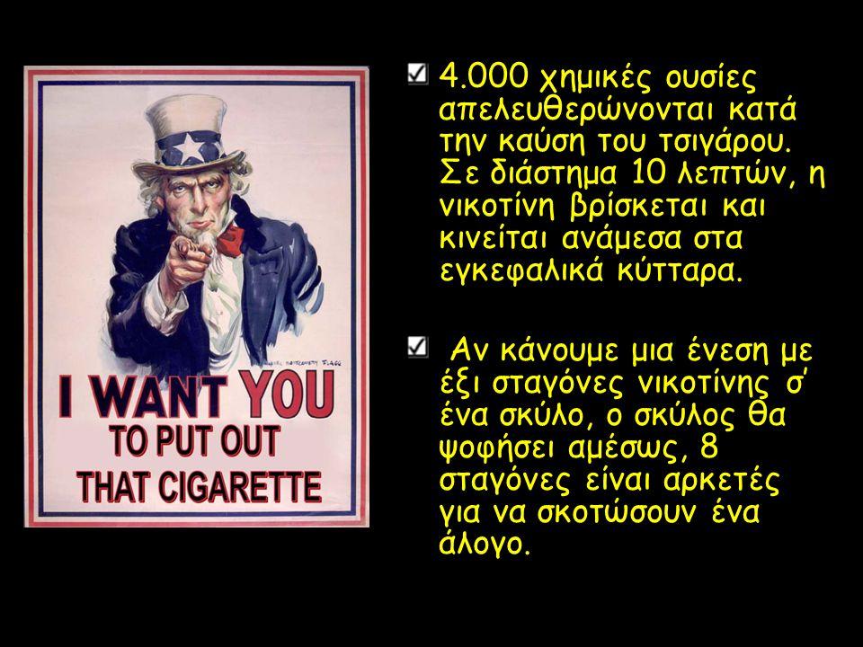 4. 000 χημικές ουσίες απελευθερώνονται κατά την καύση του τσιγάρου