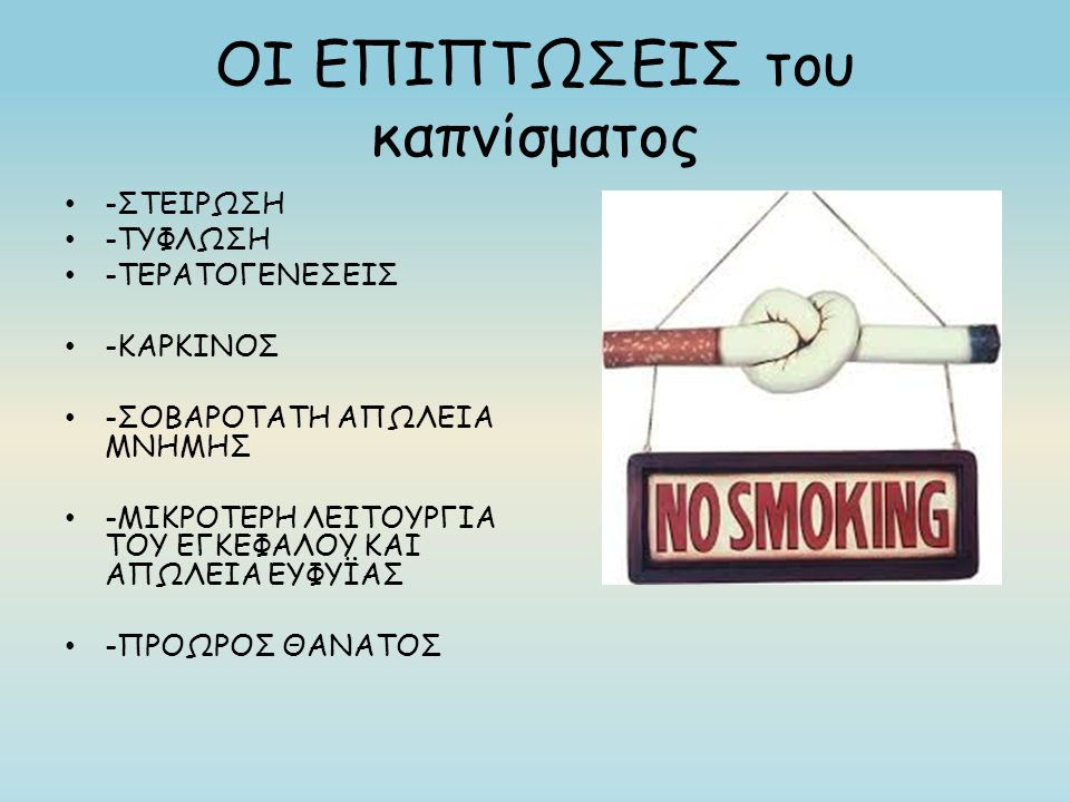 ΟΙ ΕΠΙΠΤΩΣΕΙΣ του καπνίσματος