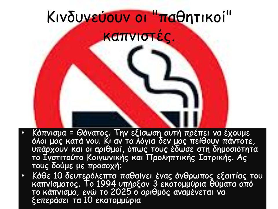 Κινδυνεύουν οι παθητικοί καπνιστές.