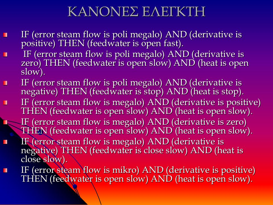 ΚΑΝΟΝΕΣ ΕΛΕΓΚΤΗ IF (error steam flow is poli megalo) AND (derivative is positive) THEN (feedwater is open fast).