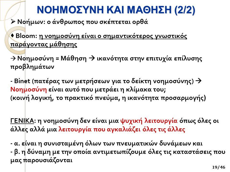 ΝΟΗΜΟΣΥΝΗ ΚΑΙ ΜΑΘΗΣΗ (2/2)