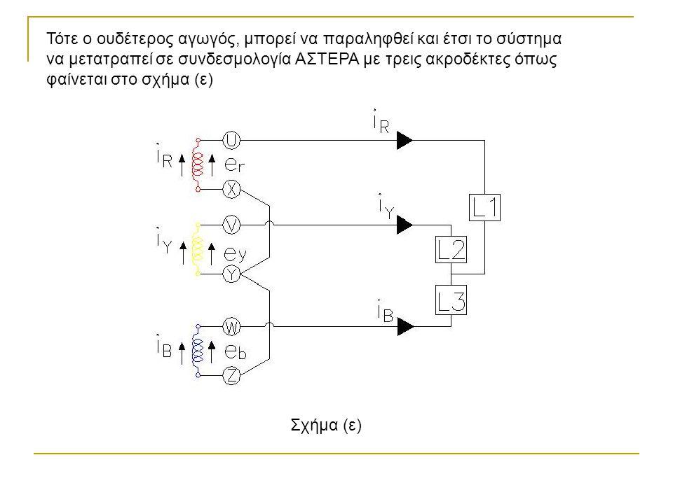 Τότε ο ουδέτερος αγωγός, μπορεί να παραληφθεί και έτσι το σύστημα να μετατραπεί σε συνδεσμολογία ΑΣΤΕΡΑ με τρεις ακροδέκτες όπως φαίνεται στο σχήμα (ε)