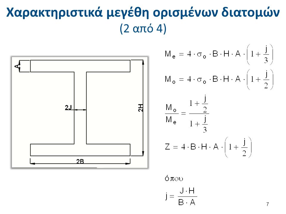 Χαρακτηριστικά μεγέθη ορισμένων διατομών (3 από 4)
