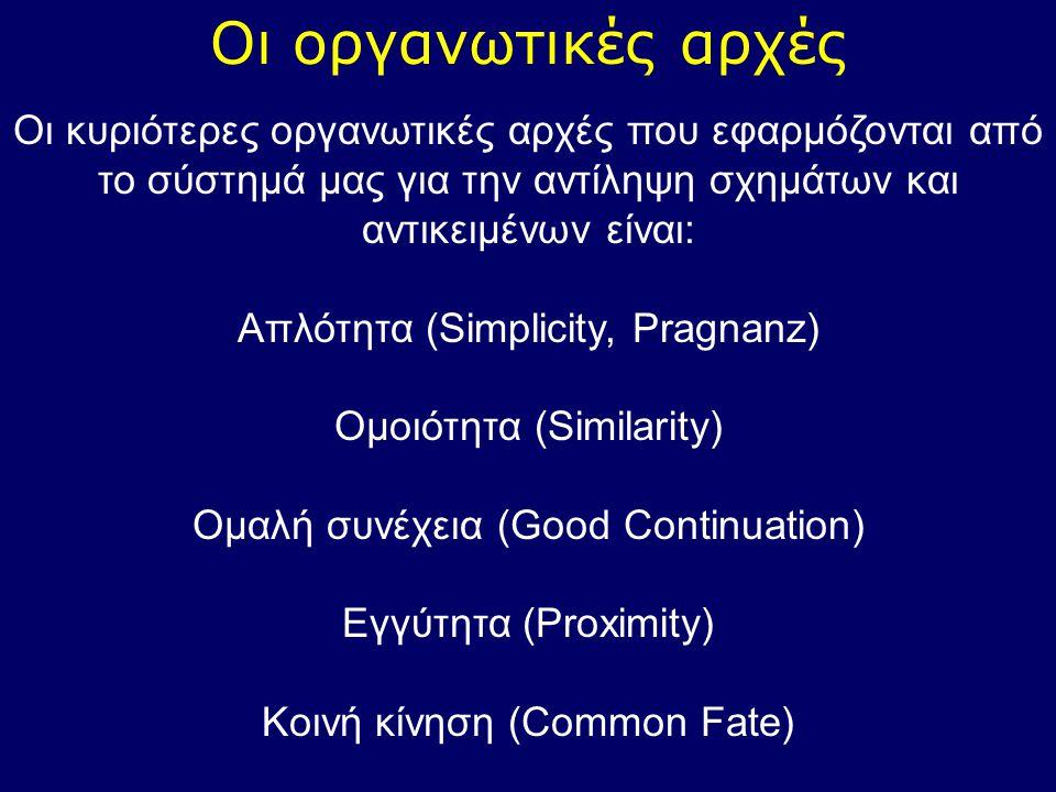 Οι οργανωτικές αρχές Οι κυριότερες οργανωτικές αρχές που εφαρμόζονται από το σύστημά μας για την αντίληψη σχημάτων και αντικειμένων είναι: