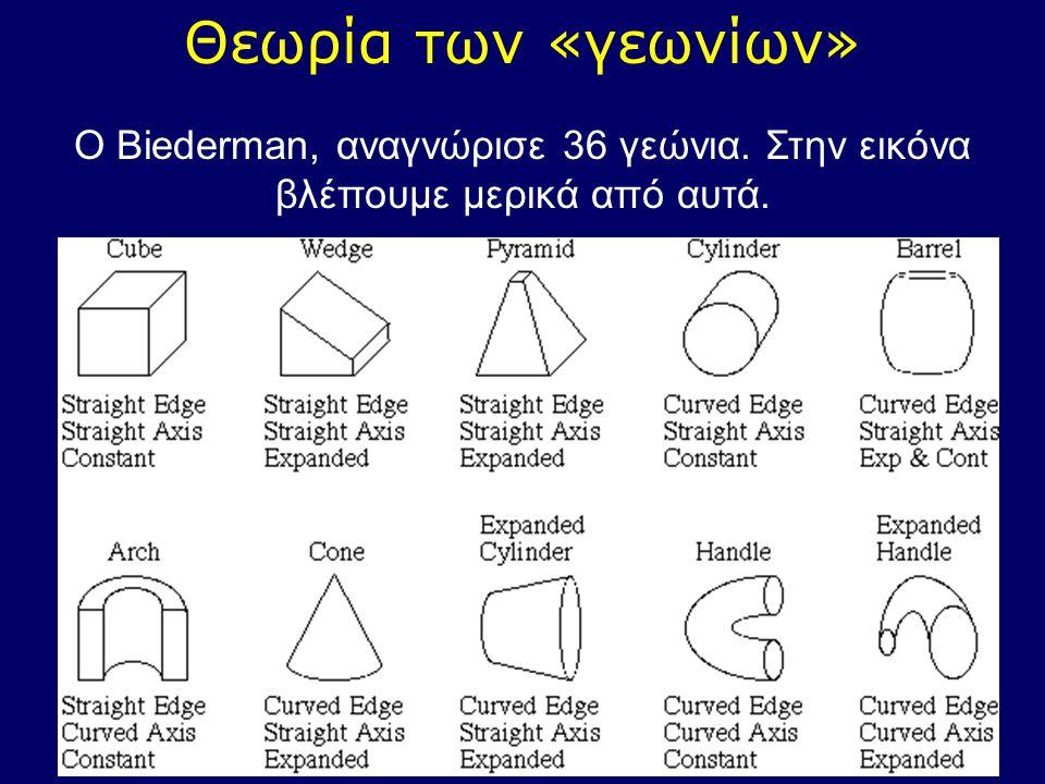 Θεωρία των «γεωνίων» Ο Biederman, αναγνώρισε 36 γεώνια. Στην εικόνα βλέπουμε μερικά από αυτά.