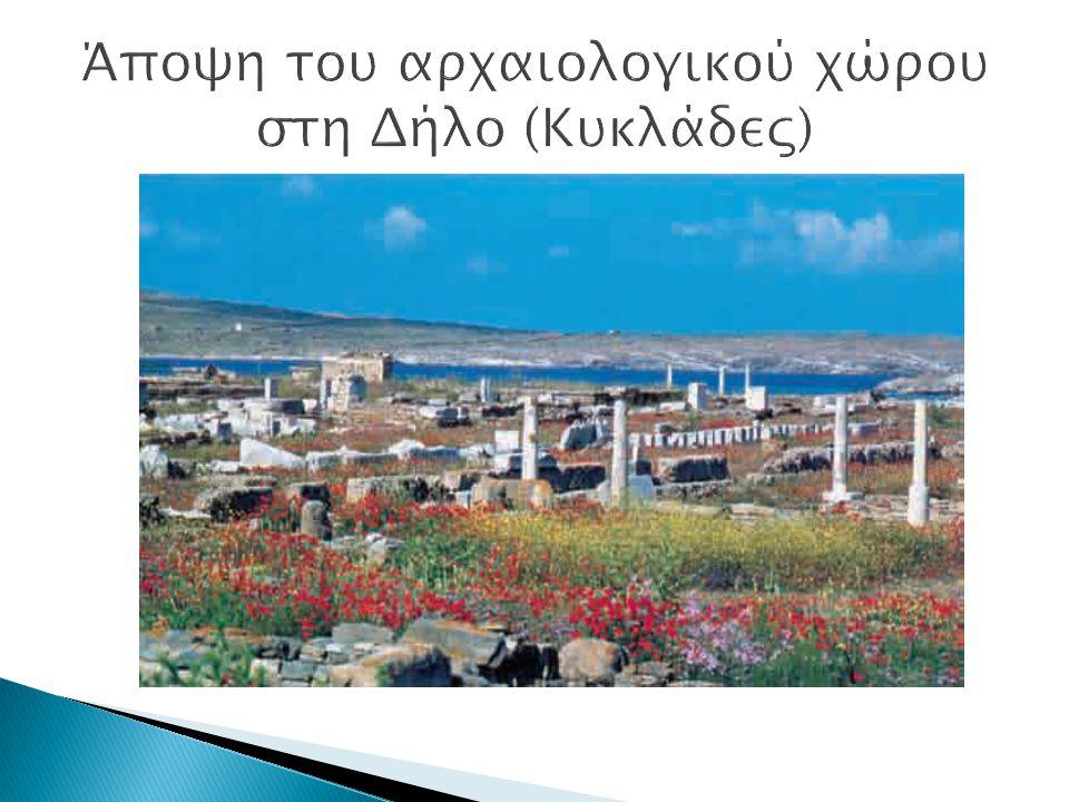 Άποψη του αρχαιολογικού χώρου στη Δήλο (Κυκλάδες)
