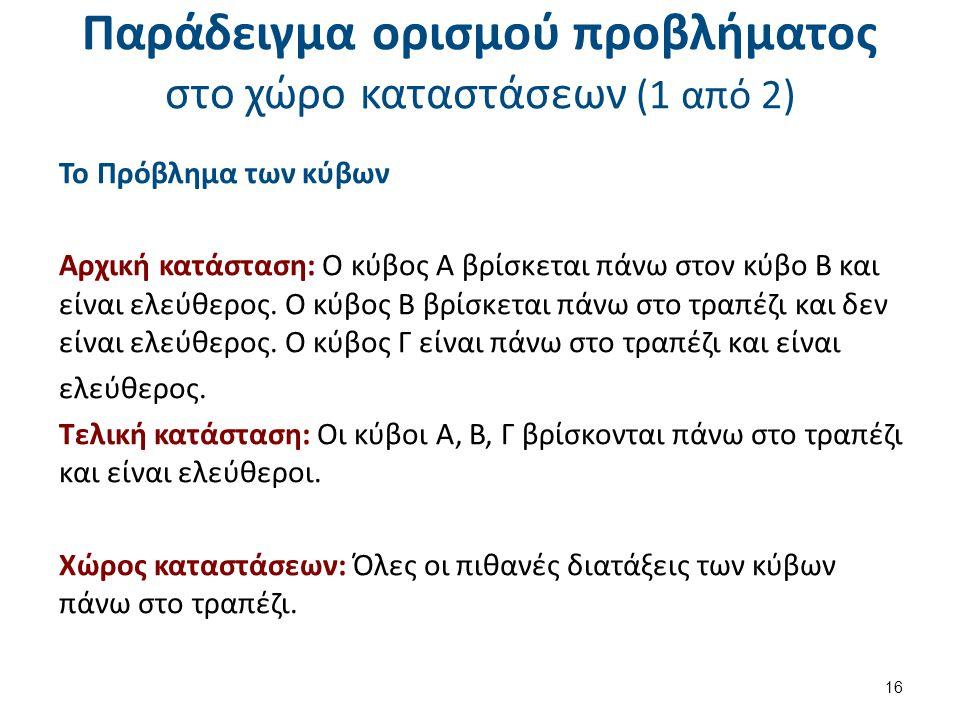 Παράδειγμα ορισμού προβλήματος στο χώρο καταστάσεων (2 από 2)