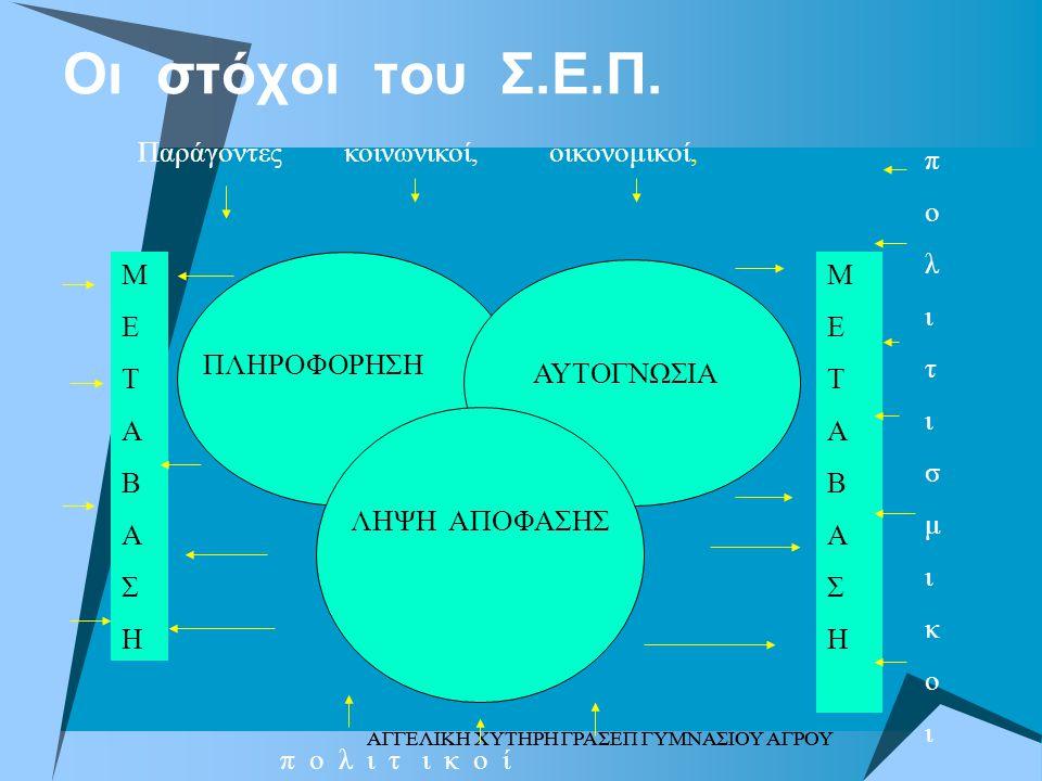 Οι στόχοι του Σ.Ε.Π. Παράγοντες κοινωνικοί, οικονομικοί, π ο λ ι τ σ μ
